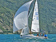 J/70 one-design sailboat- sailing European championship- Lake Garda, Italy