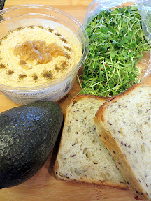 Vegetarian Hummus Avocado Greens Sandwich ingredients