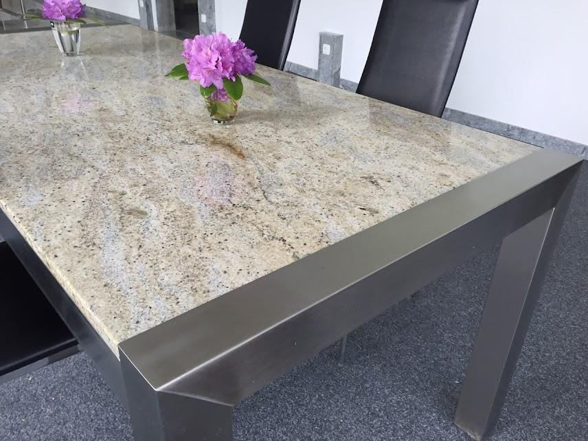stabiler edelstahltisch esstisch wohnzimmertisch mit massiver steinplatte granit ebay. Black Bedroom Furniture Sets. Home Design Ideas