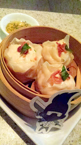 Chef Gregory Gourdet's winning shrimp dumplings from Top Chef now at Departure for Dumpling Week, steamed and made with palm sugar, ginger and crispy shallot and those Spicy Thai chilis at $11