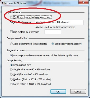 winzip courier settings to disable auto file zip in outlook