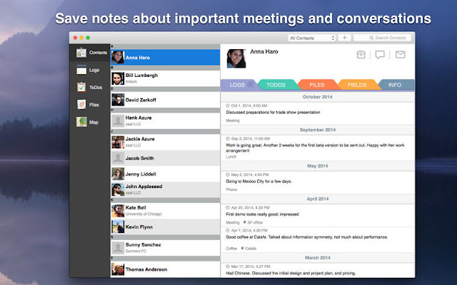 Contacts Journal CRM Software for Mac OS X