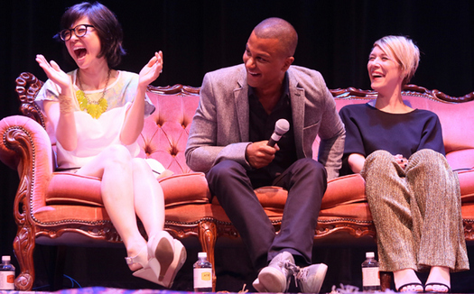 Keiko Agena (Lane), Yanic Truesdale (Michel) and Liza Weil (Paris)