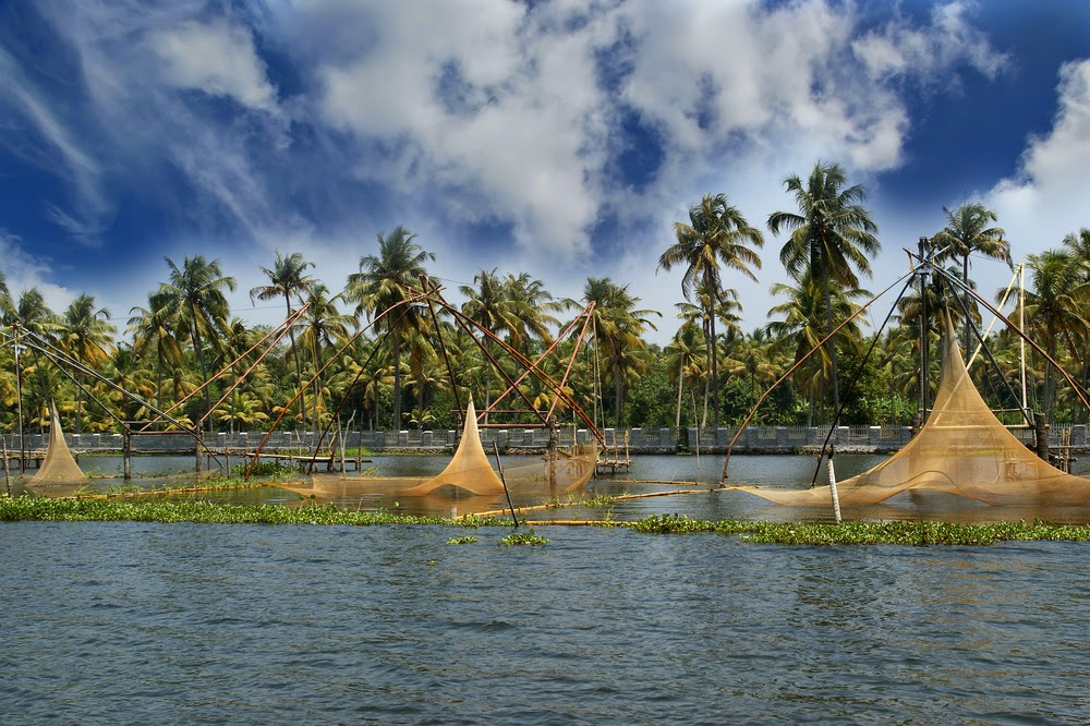 Kerala Fishing Nets in Vembanad Lake