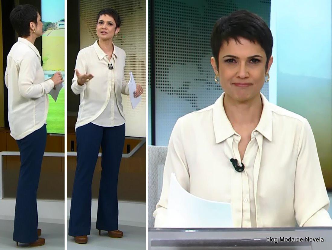 moda do programa Jornal Hoje - look da Sandra Annenberg dia 2 de julho