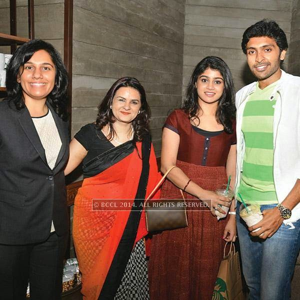 Chennaiites celebrated the opening of the first Starbucks store in the city at special preview event. The opening enjoyed the presence of many celebrities and socialites. Seen here is Avani, Lakshmi and Vikram Prabhu.