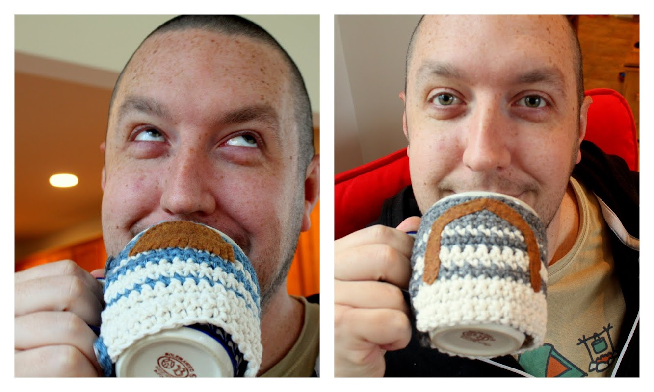 Mustachioed Mug Sweater    A beginner crochet pattern by Made with Moxie &#10 Whip up a mug sweater for yourself or your hipster friends. Makes a great gift!