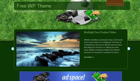 Free Wordpress Ronaldo Soccer Green Theme