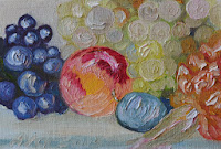 Still life peach grapes plum sml