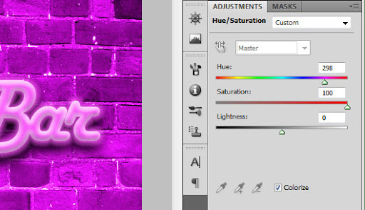 Aplicando Hue/Saturation para colorir a textura
