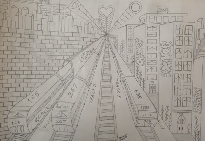 Hassan.  1-point perspective drawing of a cityscape in the Bronx.  Fifth grade