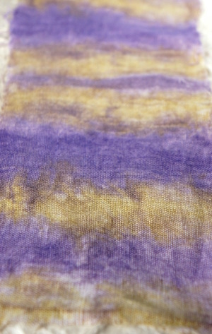 Handpainted fabric in green and purple