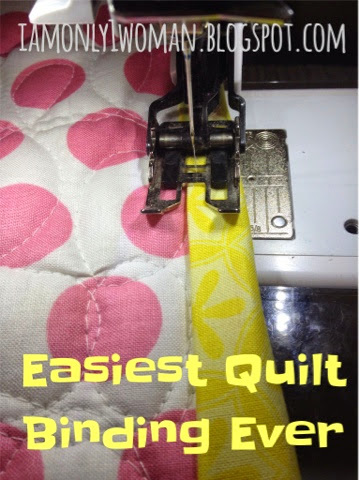 easiest quilt binding method ever.  Binding a quilt with clear thread