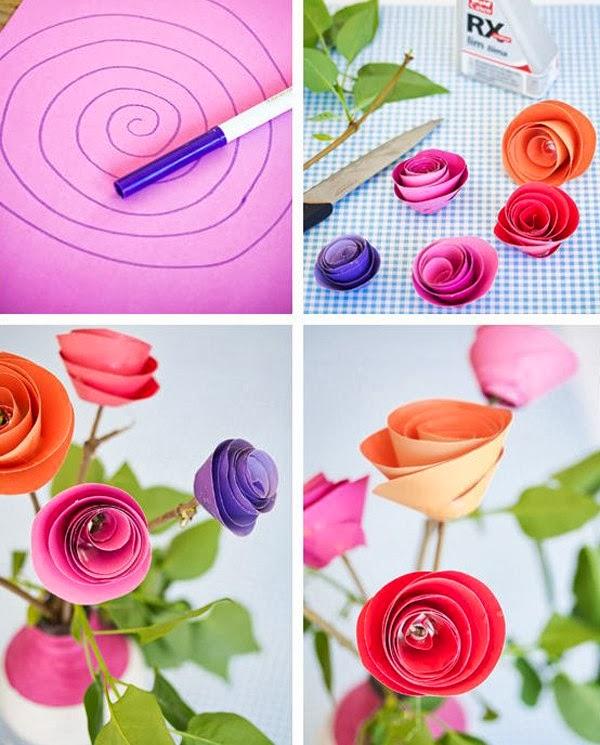 hoa+giay+1 Cách làm hoa trang trí đơn giản từ giấy