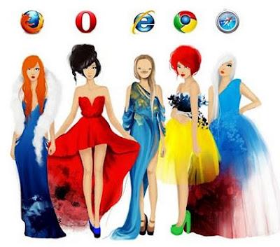 Browser ladies: Firefox, Opera, IE, Chrome and Safari girls