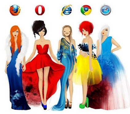 Browser ladies: Firefox, Opera, IE, Chrome and Safari girls