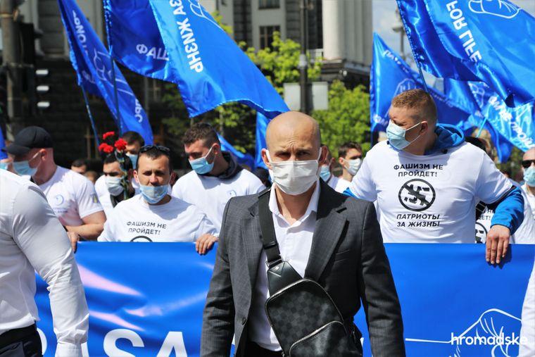 Координатор ОО «Патриоты — За жизнь» и ее харьковского отделения Олег Ширяев на марше против фашизма 9 мая 2021 года.