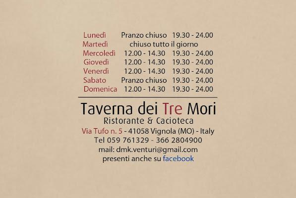 Taverna Dei Tre Mori, Via Tufo, 5, 41058 Vignola MO, Italy