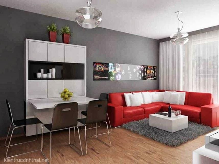 Thiết kế phòng khách bếp nhỏ, đơn giản