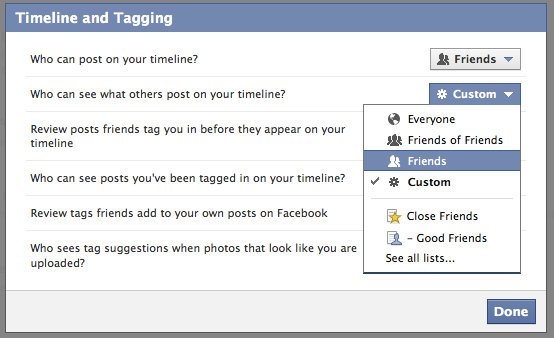 Facebook Timeline Privacy