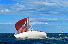 J/24 sailing sideways at Victoria States Australia
