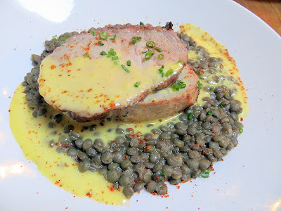 Fratelli restaurant, simple Italian, Pearl district, rustic Italian,Portland, smoky rich Smoked Mt. Shadow pork loin with French green lentils, preserved lemon