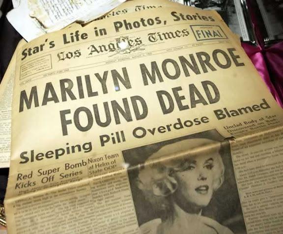 """Portada de """"Los Angeles Times"""" del 6 de agosto de 1962: Marilyn Monroe ha sido encontrada muerta por una sobredosis de barbitúricos"""