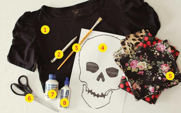 Materiais para customizada a camiseta de caveira