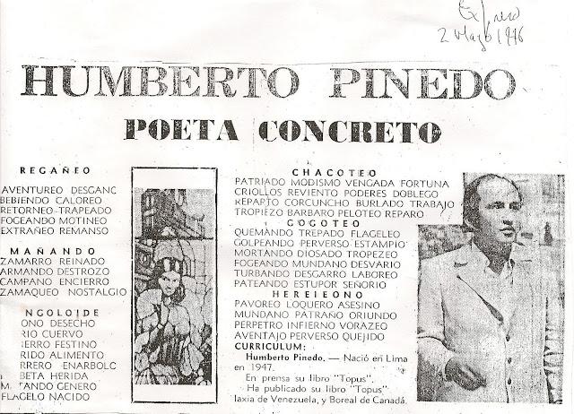 ENTREVISTAS Y PUBLICACIONES A HUMBERTO PINEDO MENDOZA