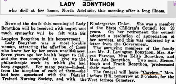 Lady Bonython dies (Saturday 9 February 1924)