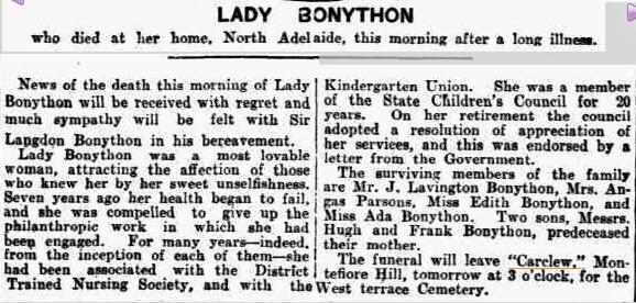 Lady Bonython dies (Saturday 9 February 1924)