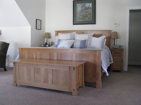 Seville Bed Frame with matching Chest and Nightstands, in Natural Cherry