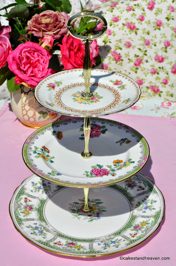 Pink and Green Vintage China 3 Tiered Cake Stand