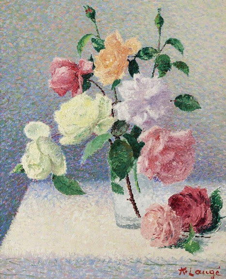 Achille Laugé - Bouquet of Roses in the Glass