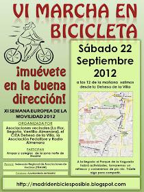 VI Marcha en Bicicleta Dehesa de la Villa, sábado 22 de septiembre 2012