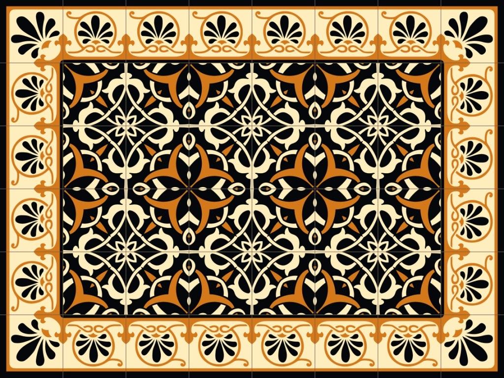 Oriental mats tile rug carpet pvc vinyl floor kitchen salon christmas decoration - Decorative vinyl floor tiles ...