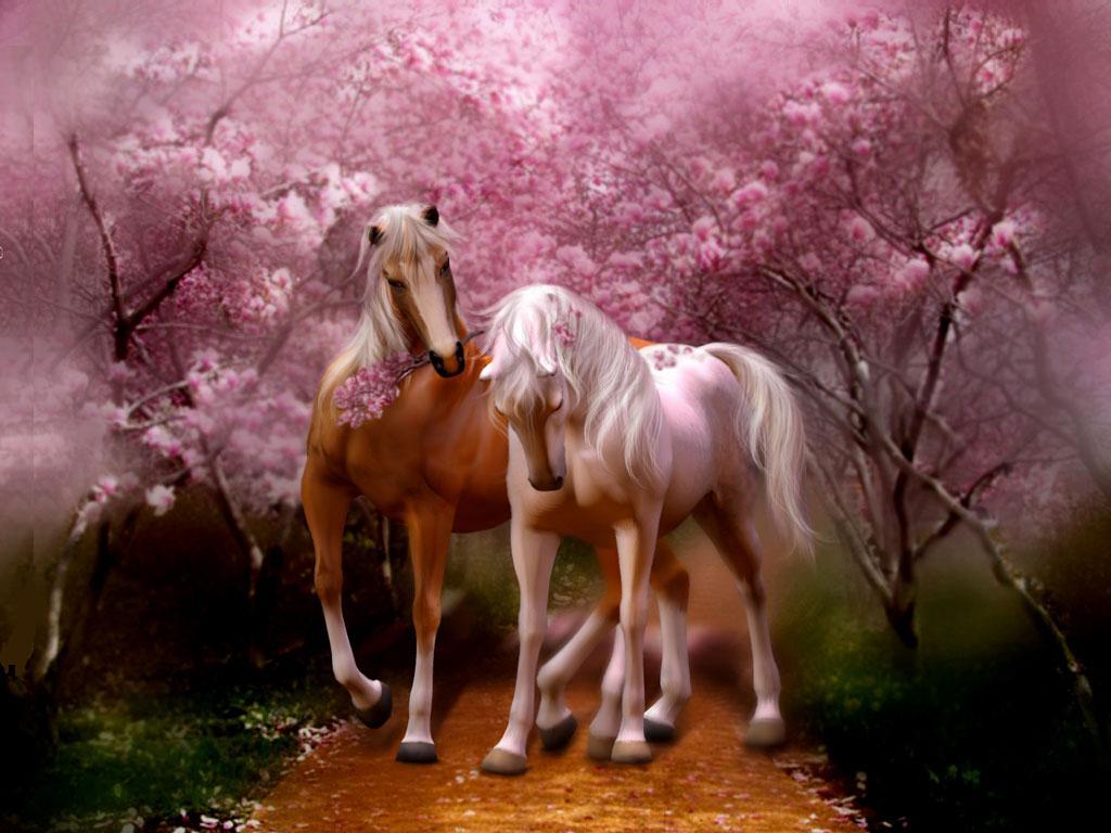 Pareja caballos enamorados fondo árboles de cerezos en flor