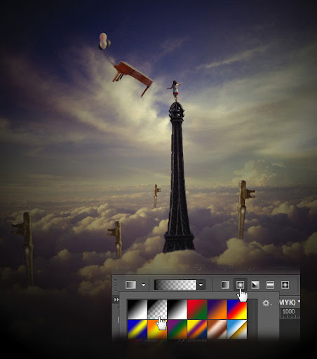 Gradient tool pada toolbox photoshop