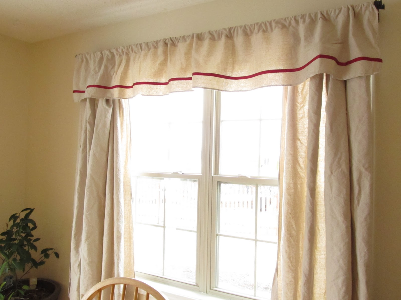 Ribbon Trimmed Canvas Curtains