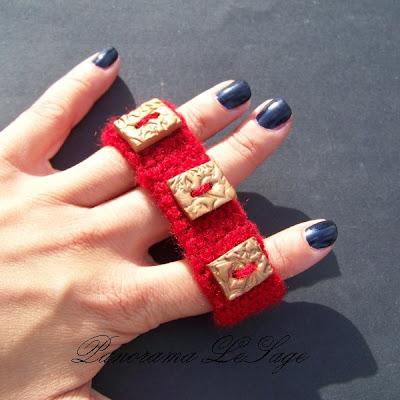 bransoleta szydełkowa guziki fimo biżuteria szydełkowa złoto bordo bogata Panorama LeSage biżuteria artystyczna