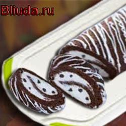 Шоколадный рулет с молочным кремом