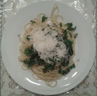 Spaghetti with Olive Oil & Garlic with boiled Spinach