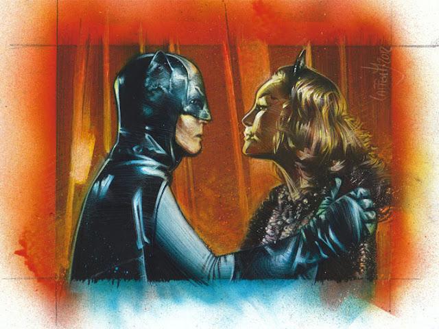 Adam West and Julie Newmar as Batman & Catwoman, work inprogress sketch card