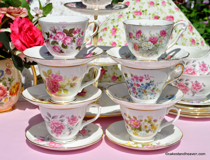 pink floral eclectic vintage teacups set stacked