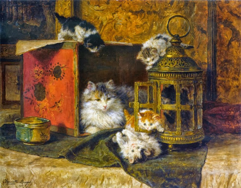 Henriette Ronner-Knip - A Mother Cat Watching Her Kittens Playing