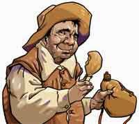 Sancho Panza: comiendo con la bota de vino en la mano