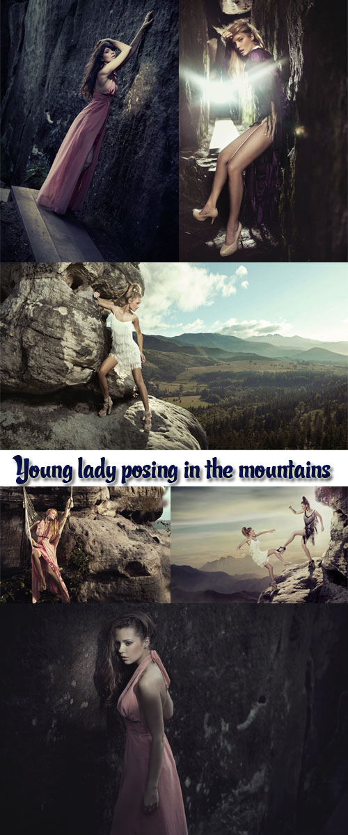 Stock Photo: Young lady posing in the mountains