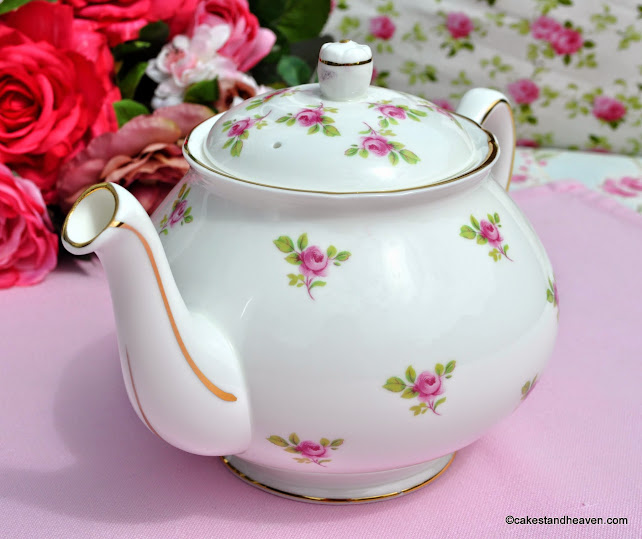 Vintage Duchess China Pink Roses Pattern Teapot