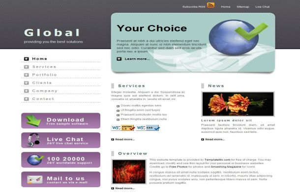 Global Business Grunge CSS HTML Website Template