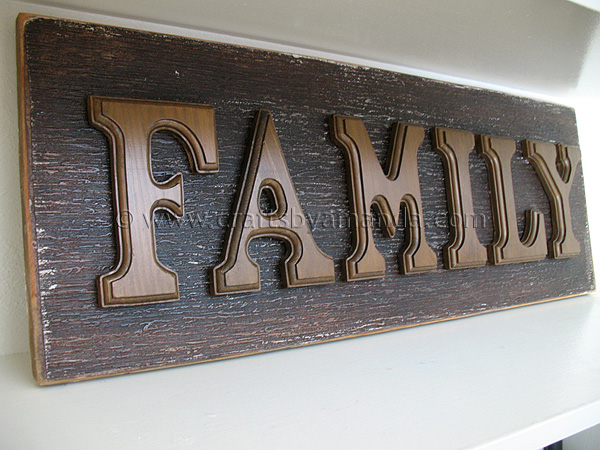 wooden letter family sign crafts by amanda. Black Bedroom Furniture Sets. Home Design Ideas